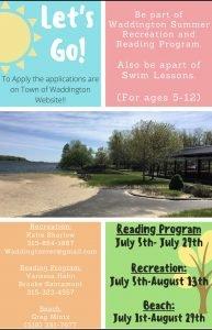Waddington Summer Reading/Rec Program 2021
